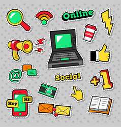Social network technology stickers badges vector