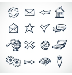 Internet sketch icons vector