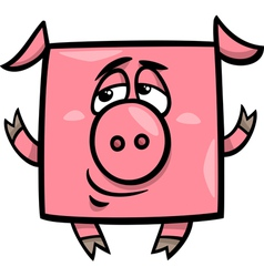 square pig cartoon vector image