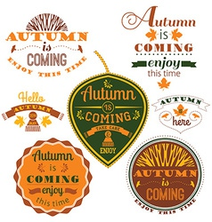 Set of autumn labels and signs vector