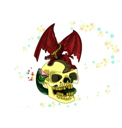 Skull with a dragon colored vector