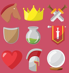 Fantasy game icons flat sets vector