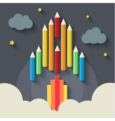 Pencils rocket on gray vector