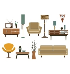 Retro flat furniture and interior icons vector