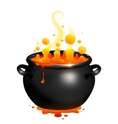 Black cauldron with orange witches potion vector