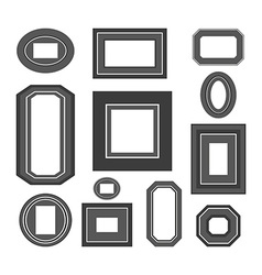 Set of black and white frames vector