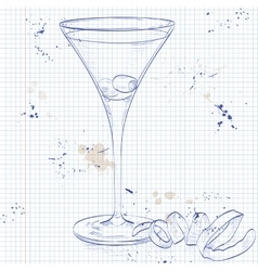 Cocktail dirty martini on a notebook page vector