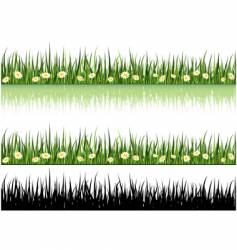 grass and flowers vector image