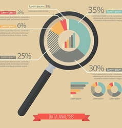 Magnifying glass and pie chart infographic vector
