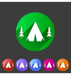 Tourist camp tent icon flat web sign symbol logo vector