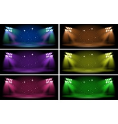 Stage with six color backgrounds vector