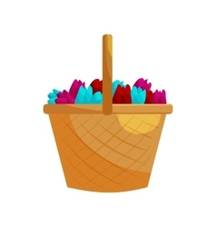 Basket with colorful tulips icon cartoon style vector