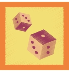 Flat shading style icon dice lucky vector