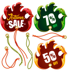 autumn leaf discount labels in the shape of hand vector image
