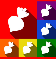 beet simple sign set of icons with flat vector image
