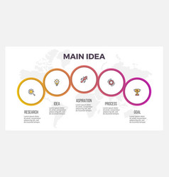 business infographics presentation with 5 circles vector image