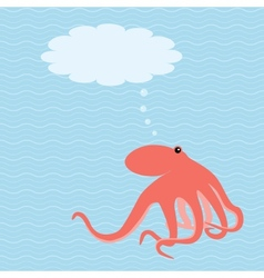card with octopus and place for text vector image vector image