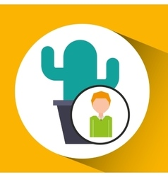 Cartoon business man cactus office icon vector