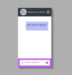 chat window for smartphone vector image