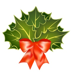 christmas holly leafs with red bow vector image vector image