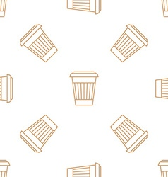 Coffee paper cup outline seamless pattern vector