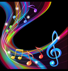 Colorful abstract notes music background vector