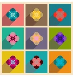 Concept of flat icons with long shadow flower vector