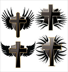 Cross on Black shield with wings set vector image vector image
