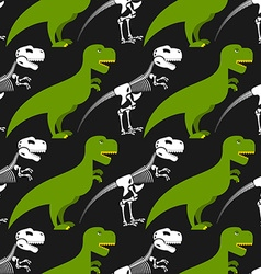 Dinosaur skeleton and seamless pattern green vector
