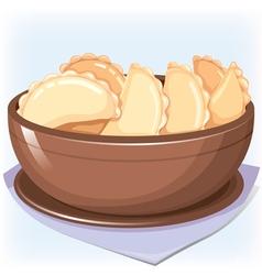 Dish with dumplings vector