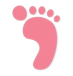 foot print color pink vector image vector image