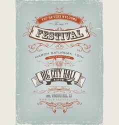 Grunge festival invitation poster vector