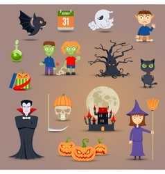 Halloween Elements And Icons vector image vector image