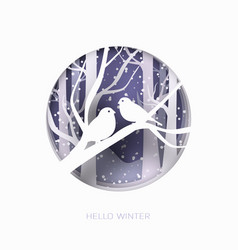 Hello winter 3d abstract paper cut of vector