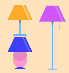 lamps furniture set light electric electricity vector image vector image