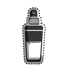 Monochrome sticker with glass bottle spray vector