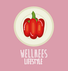 Pepper vegetable wellness lifestyle vector
