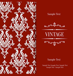 Red 3d Vintage Invitation Card Template vector image vector image
