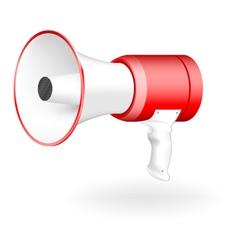Red-white megaphone vector