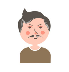 Serious man with mustache and pink cheeks portrait vector
