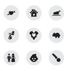 set of 9 editable family icons includes symbols vector image vector image
