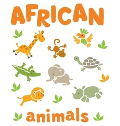 Set of funny african animals vector image vector image