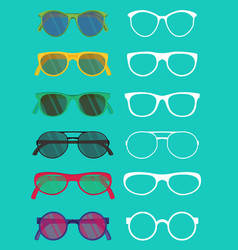 Set of hipster glasses flat elements vector