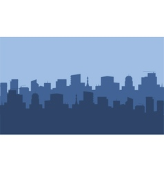 Silhouette of city with blue color vector image vector image
