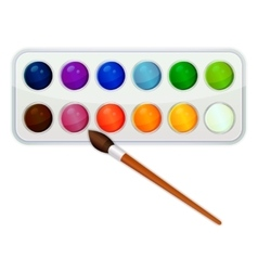 Watercolor paint icon with brush vector