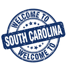 Welcome to south carolina blue round vintage stamp vector