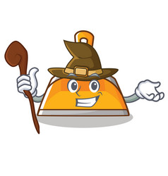 Witch dustpan character cartoon style vector