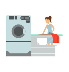 woman ironing laundry part of people using vector image