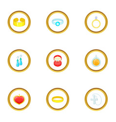 women jewelry icons set cartoon style vector image vector image