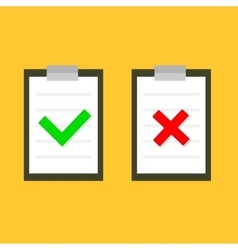 Yes no chek mark sign on clipboard lined paper vector
